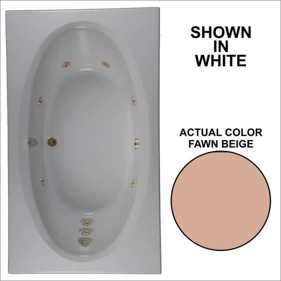 Watertech Whirlpool Baths Designer Fawn Beige Acrylic Oval In Rectangle Whirlpool Tub (Common: 42-in x 72-in; Actual: 20.75-in x 41.75-in x 71.625-in)