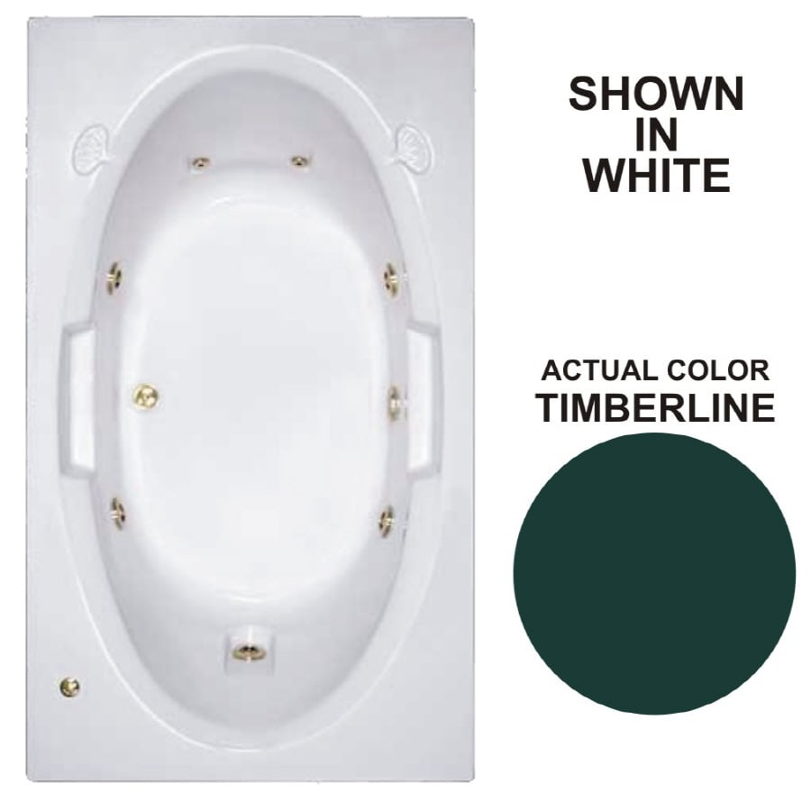 Watertech Whirlpool Baths Designer Timberline Acrylic Oval In Rectangle Whirlpool Tub (Common: 42-in x 72-in; Actual: 20.75-in x 41.75-in x 71.625-in)