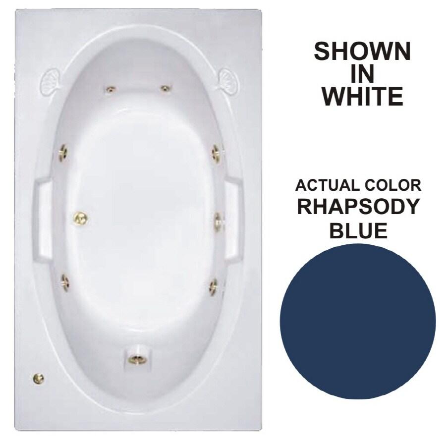 Watertech Whirlpool Baths Designer Rhapsody Blue Acrylic Oval In Rectangle Whirlpool Tub (Common: 42-in x 72-in; Actual: 20.75-in x 41.75-in x 71.625-in)