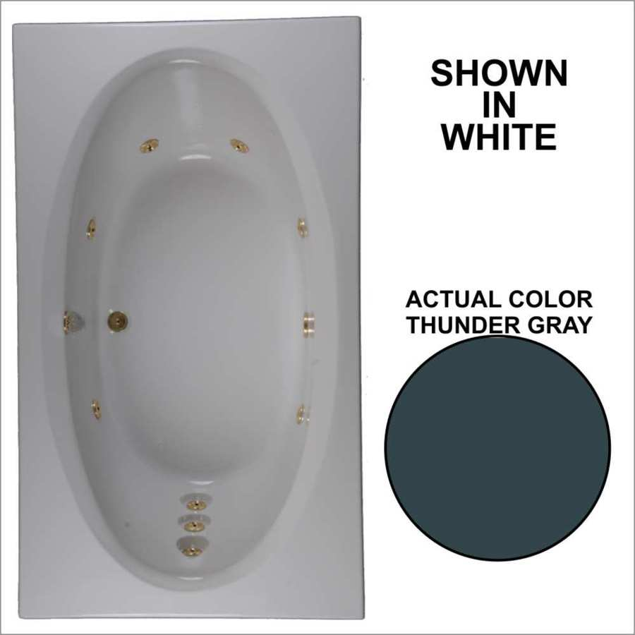 Watertech Whirlpool Baths Designer Thunder Grey Acrylic Oval In Rectangle Whirlpool Tub (Common: 42-in x 72-in; Actual: 20.75-in x 41.75-in x 71.625-in)