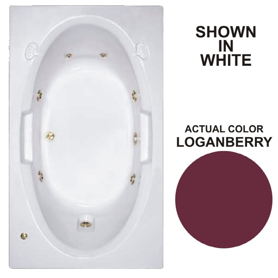 Watertech Whirlpool Baths Designer Loganberry Acrylic Oval In Rectangle Whirlpool Tub (Common: 42-in x 72-in; Actual: 20.75-in x 41.75-in x 71.625-in)