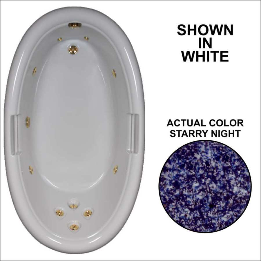 Watertech Whirlpool Baths Designer Starry Night Acrylic Oval Whirlpool Tub (Common: 42-in x 72-in; Actual: 21.25-in x 40.5-in x 71.25-in)