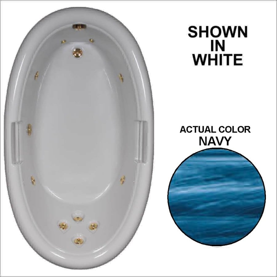 Watertech Whirlpool Baths Designer Navy Acrylic Oval Whirlpool Tub (Common: 42-in x 72-in; Actual: 21.25-in x 40.5-in x 71.25-in)