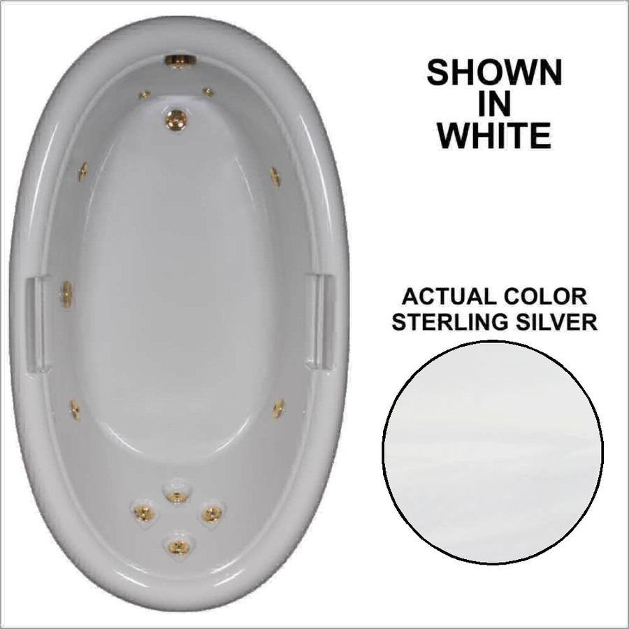Watertech Whirlpool Baths Designer Sterling Silver Acrylic Oval Whirlpool Tub (Common: 42-in x 72-in; Actual: 21.25-in x 40.5-in x 71.25-in)