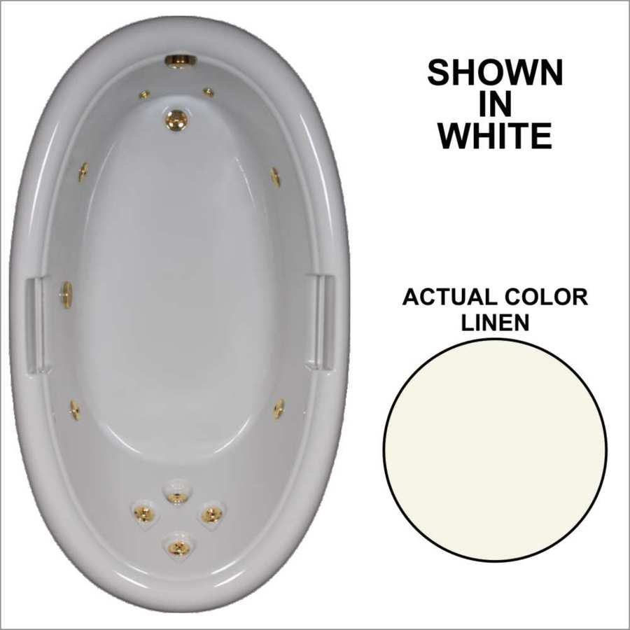 Watertech Whirlpool Baths Designer Linen Acrylic Oval Whirlpool Tub (Common: 42-in x 72-in; Actual: 21.25-in x 40.5-in x 71.25-in)