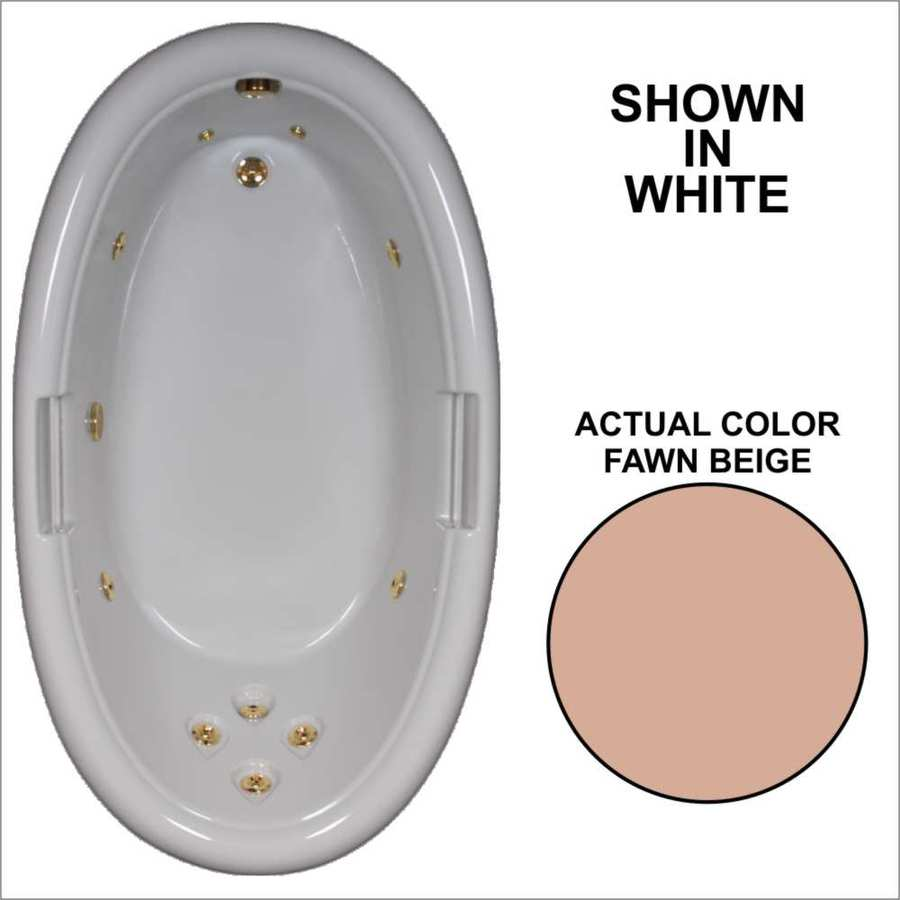 Watertech Whirlpool Baths Designer Fawn Beige Acrylic Oval Whirlpool Tub (Common: 42-in x 72-in; Actual: 21.25-in x 40.5-in x 71.25-in)
