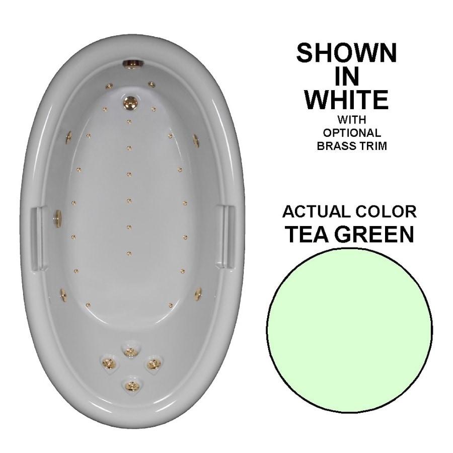 Watertech Whirlpool Baths Designer Tea Green Acrylic Oval Whirlpool Tub (Common: 42-in x 72-in; Actual: 22.25-in x 42-in x 72-in)