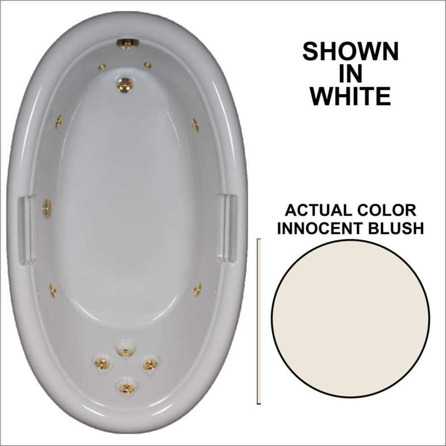 Watertech Whirlpool Baths Designer Innocent Blush Acrylic Oval Whirlpool Tub (Common: 42-in x 72-in; Actual: 21.25-in x 40.5-in x 71.25-in)