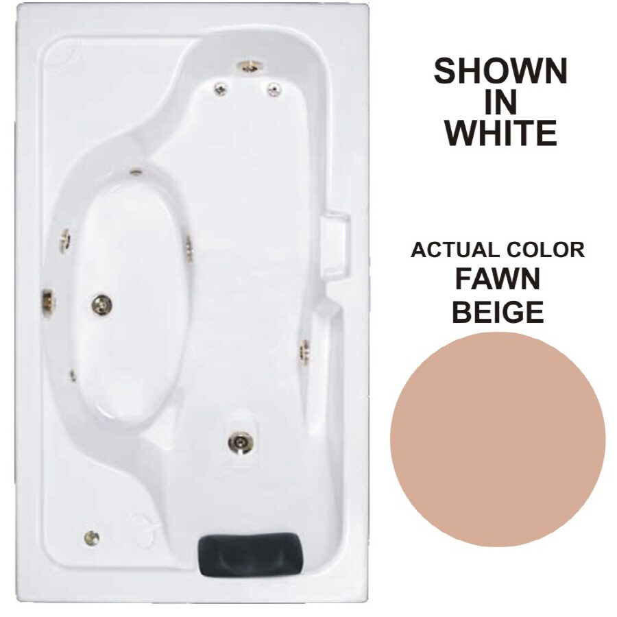 Watertech Whirlpool Baths Designer Fawn Beige Acrylic Rectangular Whirlpool Tub (Common: 42-in x 72-in; Actual: 22-in x 41.75-in x 72.625-in)