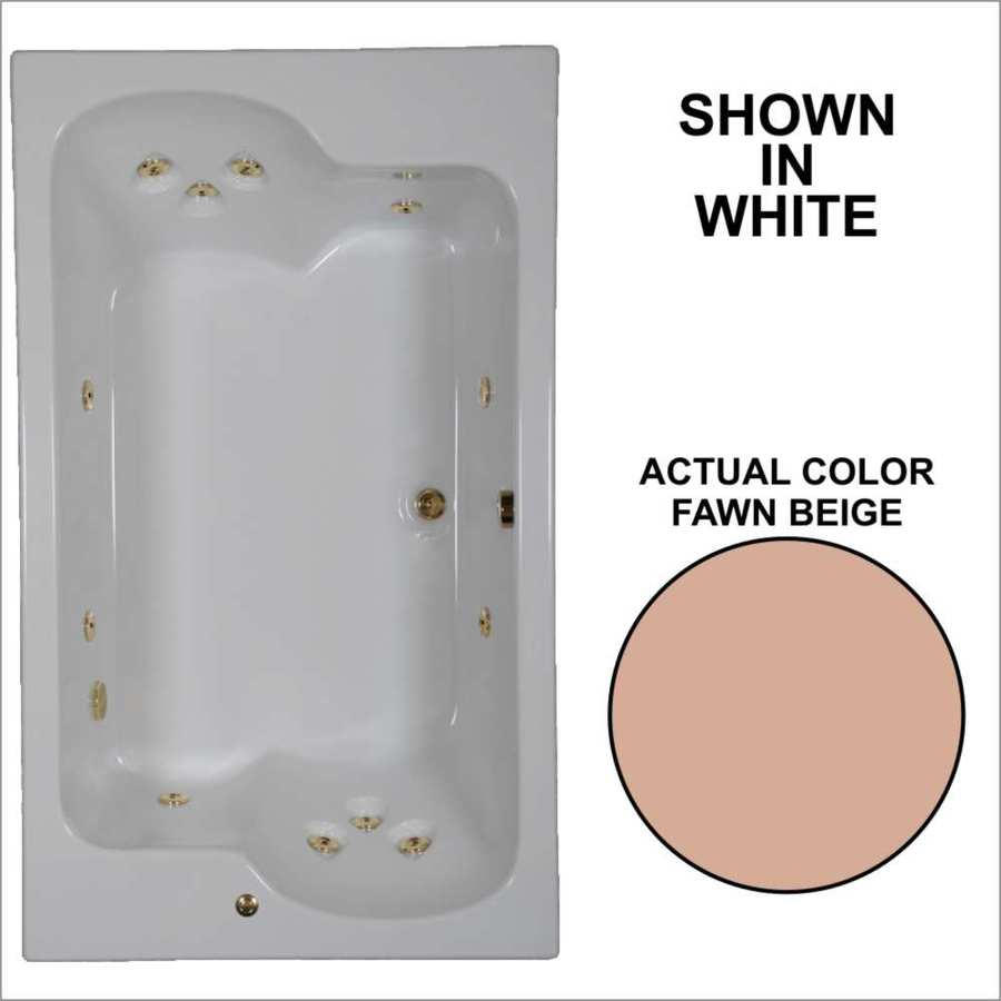 Watertech Whirlpool Baths Designer 2-Person Fawn Beige Acrylic Rectangular Whirlpool Tub (Common: 43-in x 72-in; Actual: 23.25-in x 42.625-in x 71.75-in)