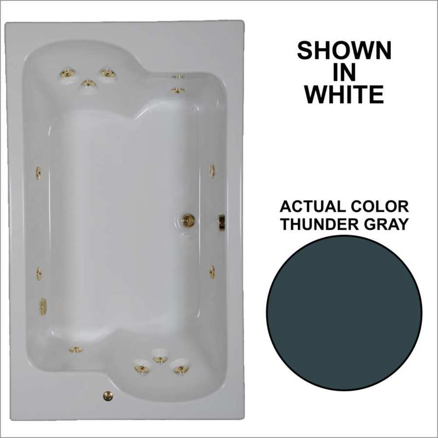 Watertech Whirlpool Baths Designer 2-Person Thunder Grey Acrylic Rectangular Whirlpool Tub (Common: 43-in x 72-in; Actual: 23.25-in x 42.625-in x 71.75-in)