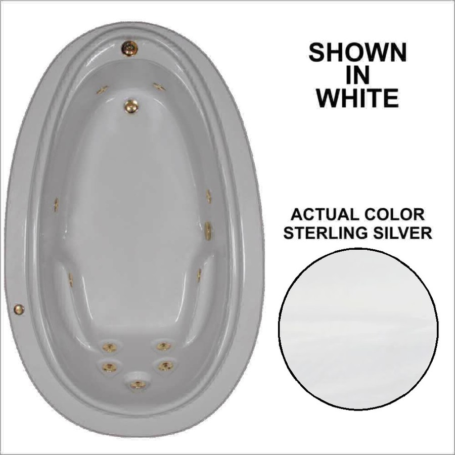 Watertech Whirlpool Baths Elite Sterling Silver Acrylic Oval Whirlpool Tub (Common: 44-in x 72-in; Actual: 21.25-in x 44.125-in x 70.875-in)