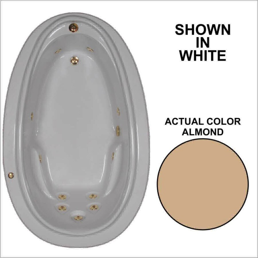 Watertech Whirlpool Baths Elite Almond Acrylic Oval Whirlpool Tub (Common: 44-in x 72-in; Actual: 21.25-in x 44.125-in x 70.875-in)
