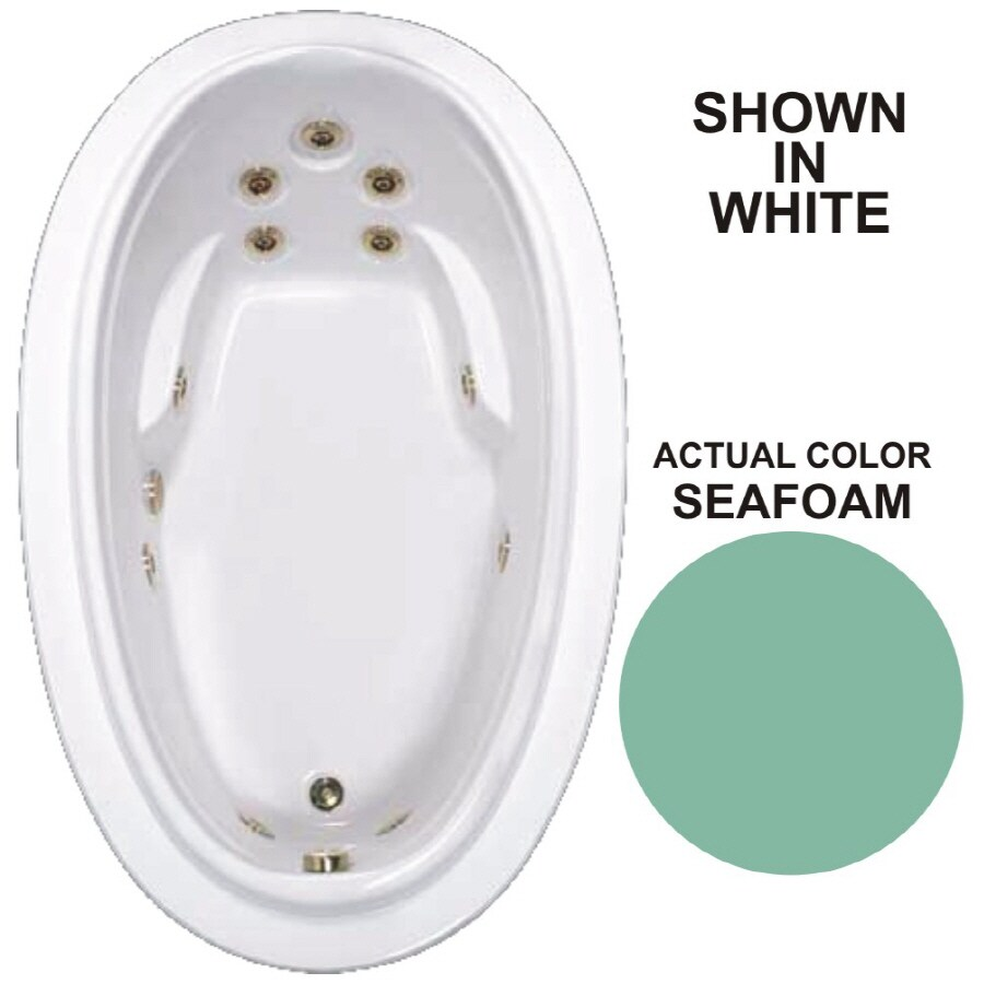 Watertech Whirlpool Baths Elite Seafoam Acrylic Oval Whirlpool Tub (Common: 44-in x 72-in; Actual: 21.25-in x 44.125-in x 70.875-in)