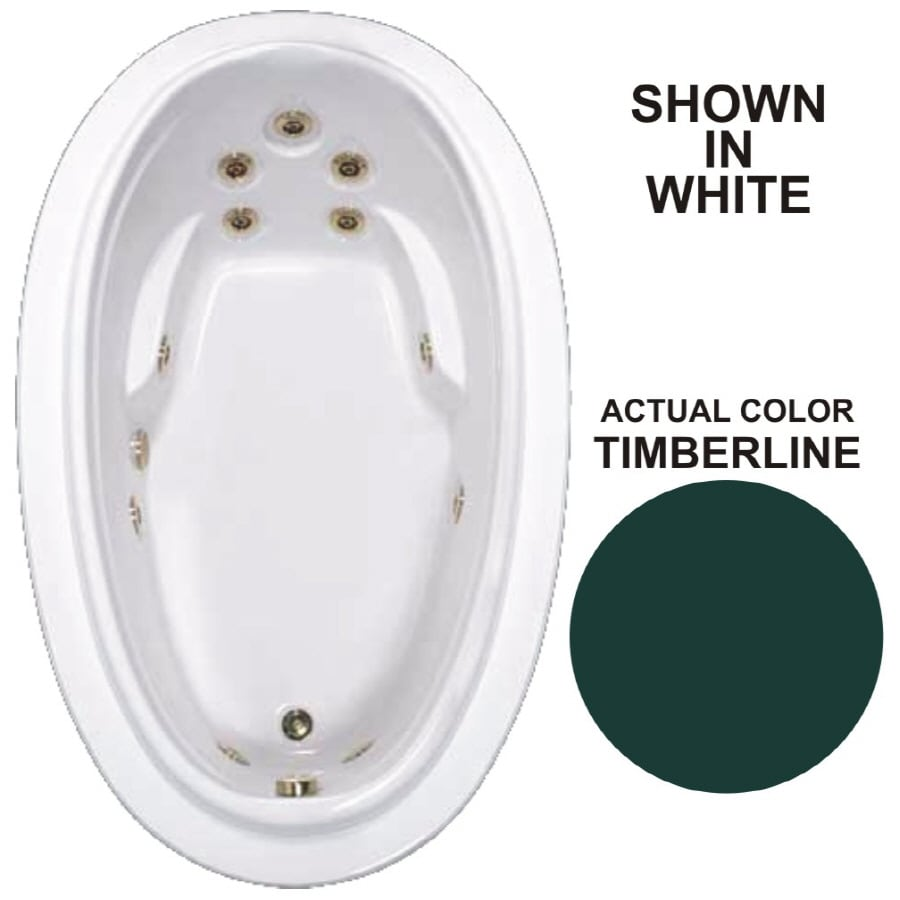 Watertech Whirlpool Baths Elite Timberline Acrylic Oval Whirlpool Tub (Common: 44-in x 72-in; Actual: 21.25-in x 44.125-in x 70.875-in)