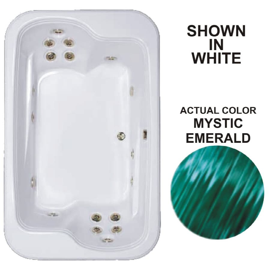 Watertech Whirlpool Baths Designer 2-Person Mystic Emerald Acrylic Rectangular Whirlpool Tub (Common: 45-in x 72-in; Actual: 25.375-in x 44.5-in x 71.5-in)