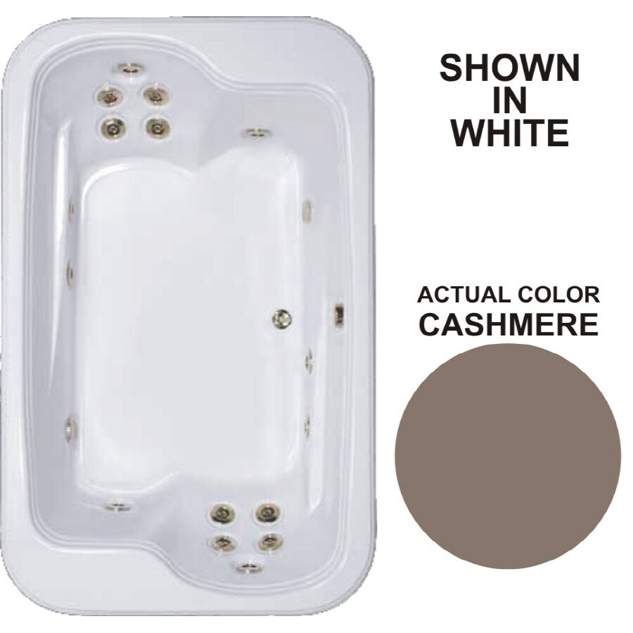 Watertech Whirlpool Baths Designer 2-Person Cashmere Acrylic Rectangular Whirlpool Tub (Common: 45-in x 72-in; Actual: 25.375-in x 44.5-in x 71.5-in)