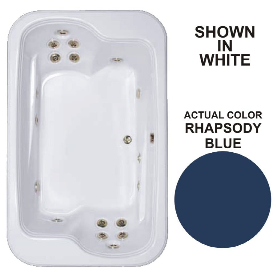 Watertech Whirlpool Baths Designer 2-Person Rhapsody Blue Acrylic Rectangular Whirlpool Tub (Common: 45-in x 72-in; Actual: 25.375-in x 44.5-in x 71.5-in)