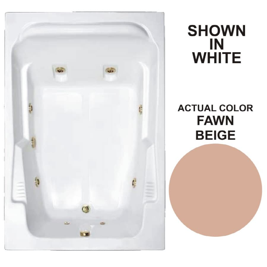 Watertech Whirlpool Baths Designer 2-Person Fawn Beige Acrylic Rectangular Whirlpool Tub (Common: 48-in x 72-in; Actual: 22-in x 48.25-in x 71.75-in)