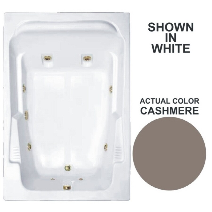 Watertech Whirlpool Baths Designer 2-Person Cashmere Acrylic Rectangular Whirlpool Tub (Common: 48-in x 72-in; Actual: 22-in x 48.25-in x 71.75-in)