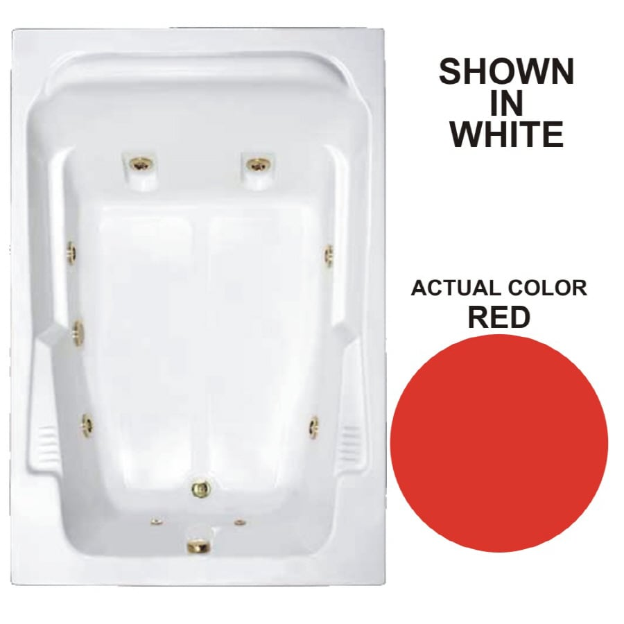 Watertech Whirlpool Baths Designer 2-Person Red Acrylic Rectangular Whirlpool Tub (Common: 48-in x 72-in; Actual: 22-in x 48.25-in x 71.75-in)