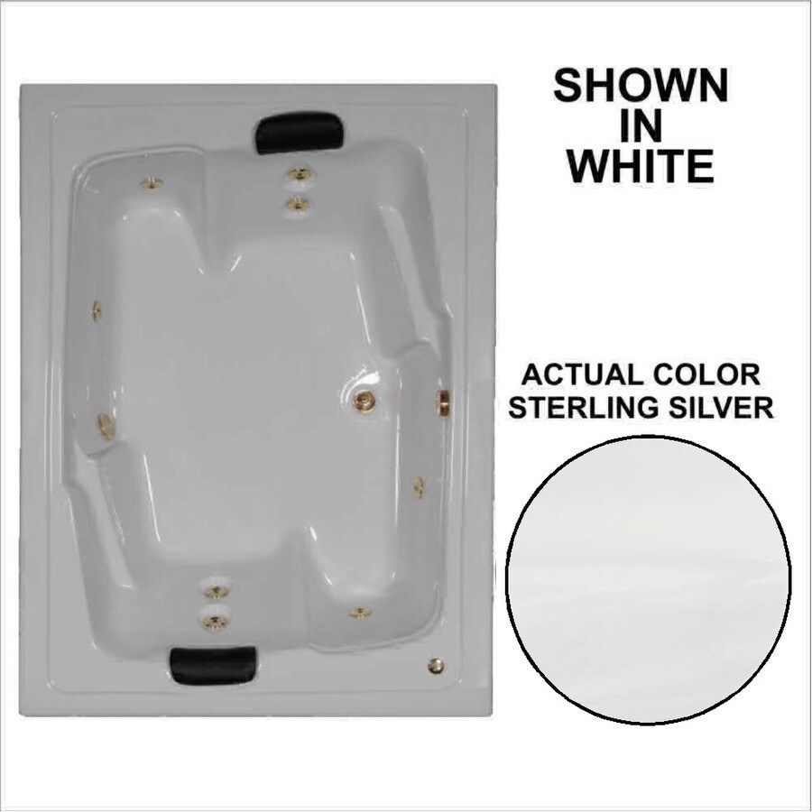 Watertech Whirlpool Baths Designer 2-Person Sterling Silver Acrylic Rectangular Whirlpool Tub (Common: 54-in x 72-in; Actual: 20.625-in x 53.625-in x 71.5-in)