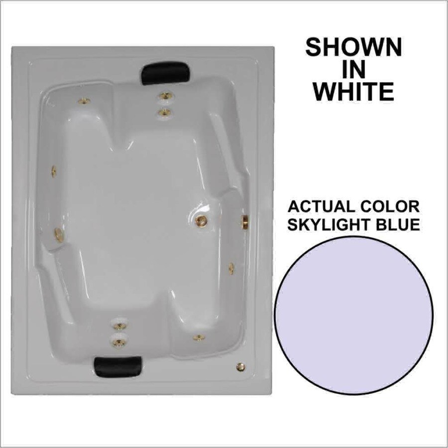 Watertech Whirlpool Baths Designer 2-Person Skylight Blue Acrylic Rectangular Whirlpool Tub (Common: 54-in x 72-in; Actual: 20.625-in x 53.625-in x 71.5-in)