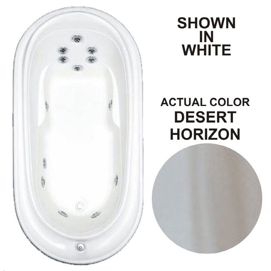 Watertech Whirlpool Baths Designer Desert Horizon Acrylic Oval Whirlpool Tub (Common: 38-in x 73-in; Actual: 21.75-in x 36.75-in x 72-in)