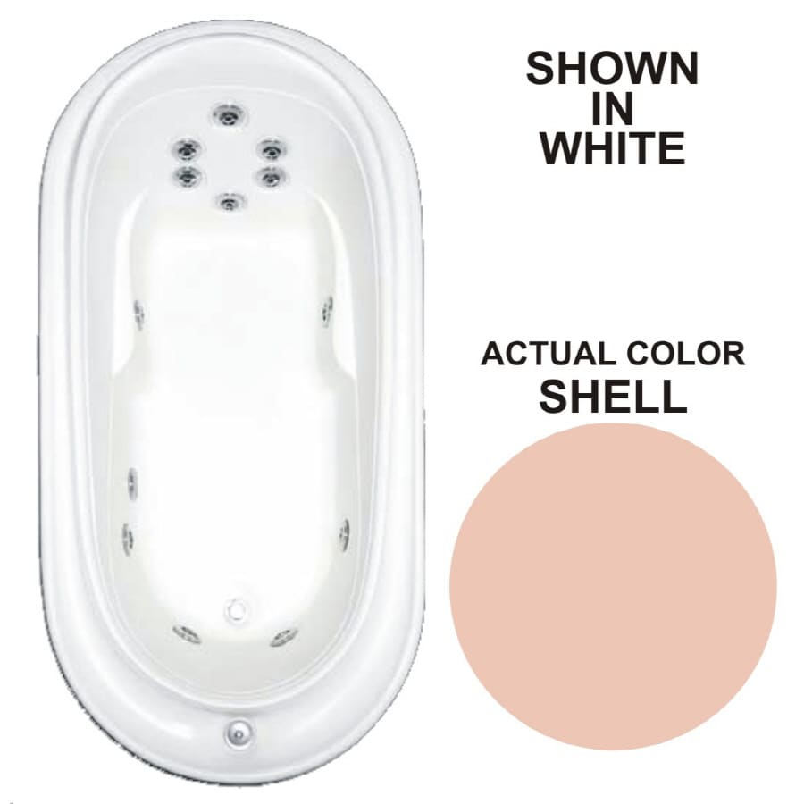 Watertech Whirlpool Baths Designer Shell Acrylic Oval Whirlpool Tub (Common: 38-in x 73-in; Actual: 21.75-in x 36.75-in x 72-in)