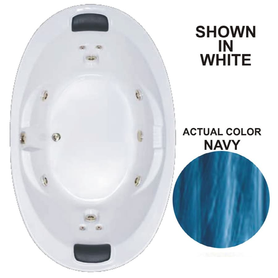 Watertech Whirlpool Baths Designer 2-Person Navy Acrylic Oval Whirlpool Tub (Common: 44-in x 73-in; Actual: 22-in x 44.75-in x 72.75-in)