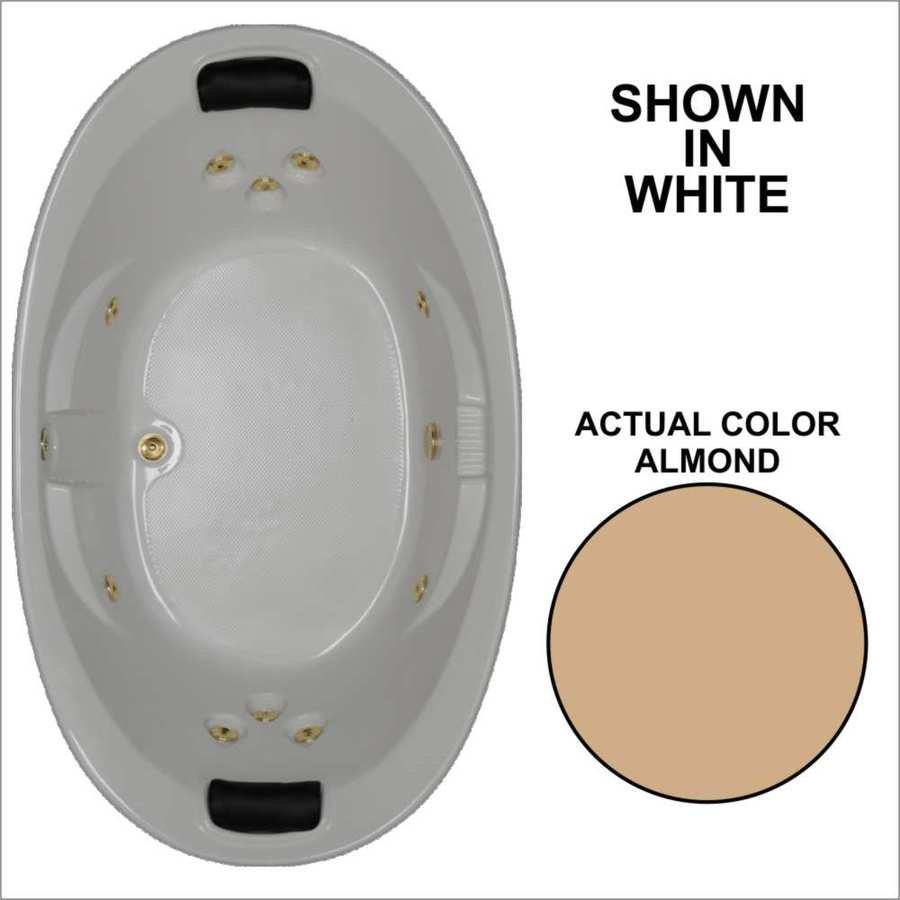 Watertech Whirlpool Baths Designer 2-Person Almond Acrylic Oval Whirlpool Tub (Common: 44-in x 73-in; Actual: 22-in x 44.75-in x 72.75-in)