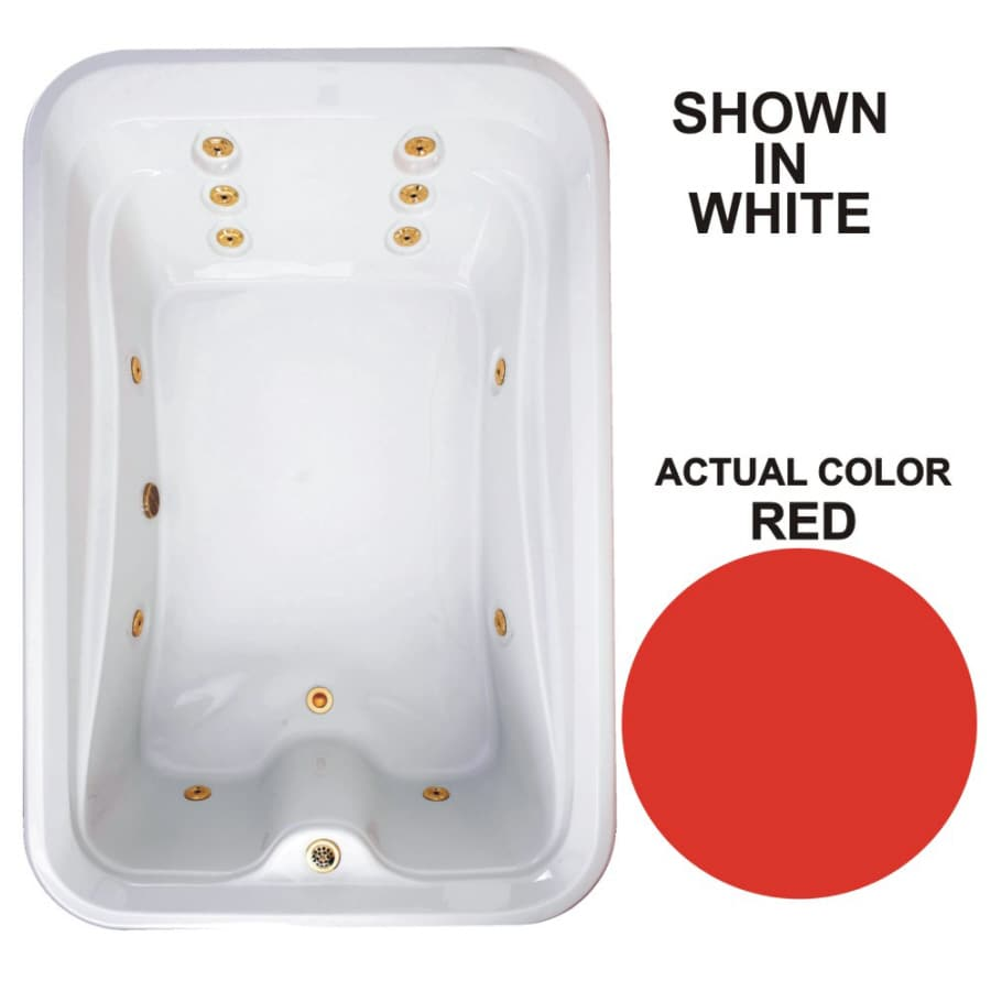Watertech Whirlpool Baths Elite 2-Person Red Acrylic Rectangular Whirlpool Tub (Common: 48-in x 72-in; Actual: 21.5-in x 48-in x 72-in)