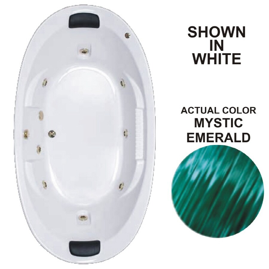 Watertech Whirlpool Baths Designer 2-Person Mystic Emerald Acrylic Oval Whirlpool Tub (Common: 46-in x 84-in; Actual: 21.375-in x 45.75-in x 83.625-in)