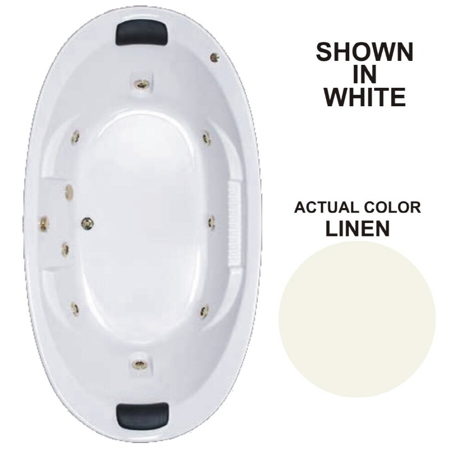 Watertech Whirlpool Baths Designer 2-Person Linen Acrylic Oval Whirlpool Tub (Common: 46-in x 84-in; Actual: 21.375-in x 45.75-in x 83.625-in)