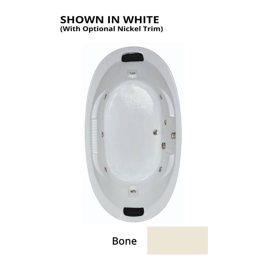 Watertech Whirlpool Baths Designer 2-Person Bone Acrylic Oval Whirlpool Tub (Common: 46-in x 84-in; Actual: 21.375-in x 45.75-in x 83.625-in)