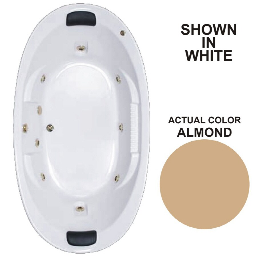 Watertech Whirlpool Baths Designer 2-Person Almond Acrylic Oval Whirlpool Tub (Common: 46-in x 84-in; Actual: 21.375-in x 45.75-in x 83.625-in)