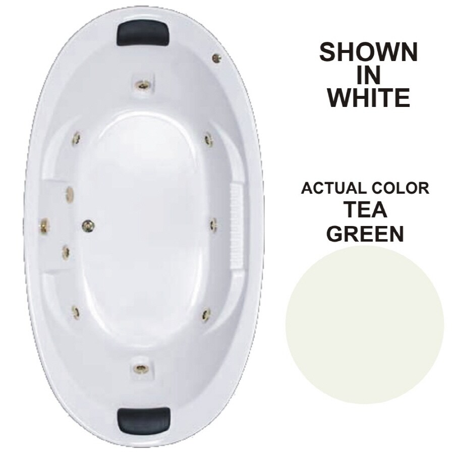 Watertech Whirlpool Baths Designer 2-Person Tea Green Acrylic Oval Whirlpool Tub (Common: 46-in x 84-in; Actual: 21.375-in x 45.75-in x 83.625-in)