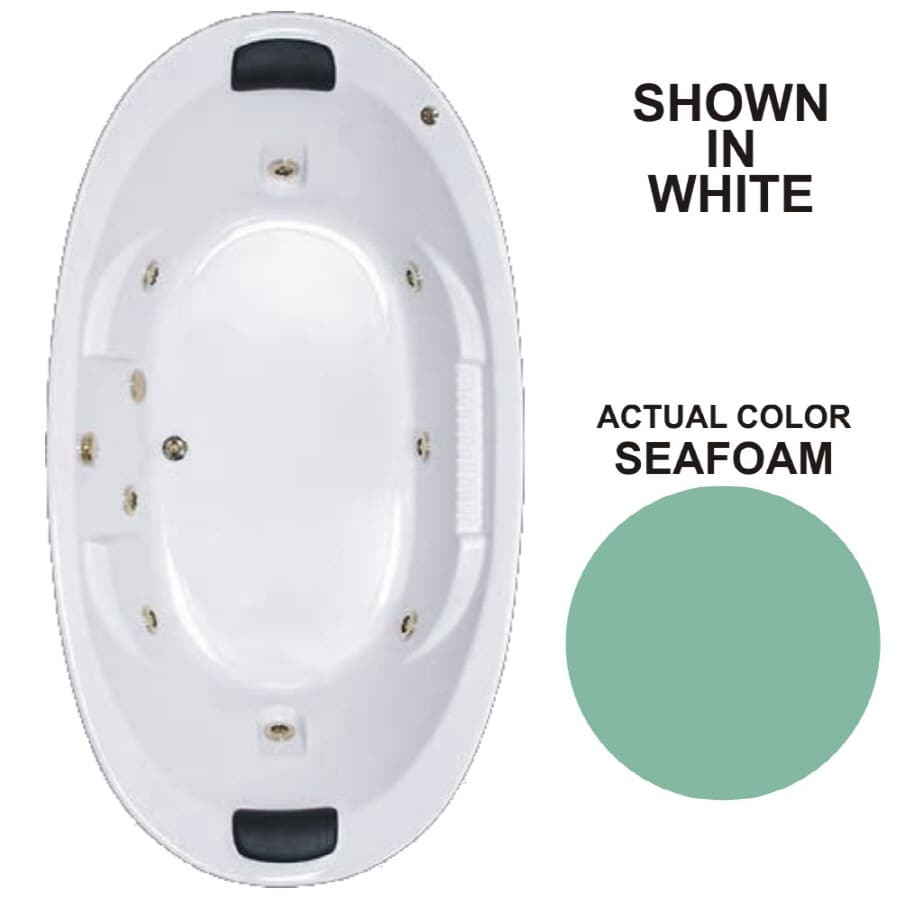 Watertech Whirlpool Baths Designer 2-Person Seafoam Acrylic Oval Whirlpool Tub (Common: 46-in x 84-in; Actual: 21.375-in x 45.75-in x 83.625-in)