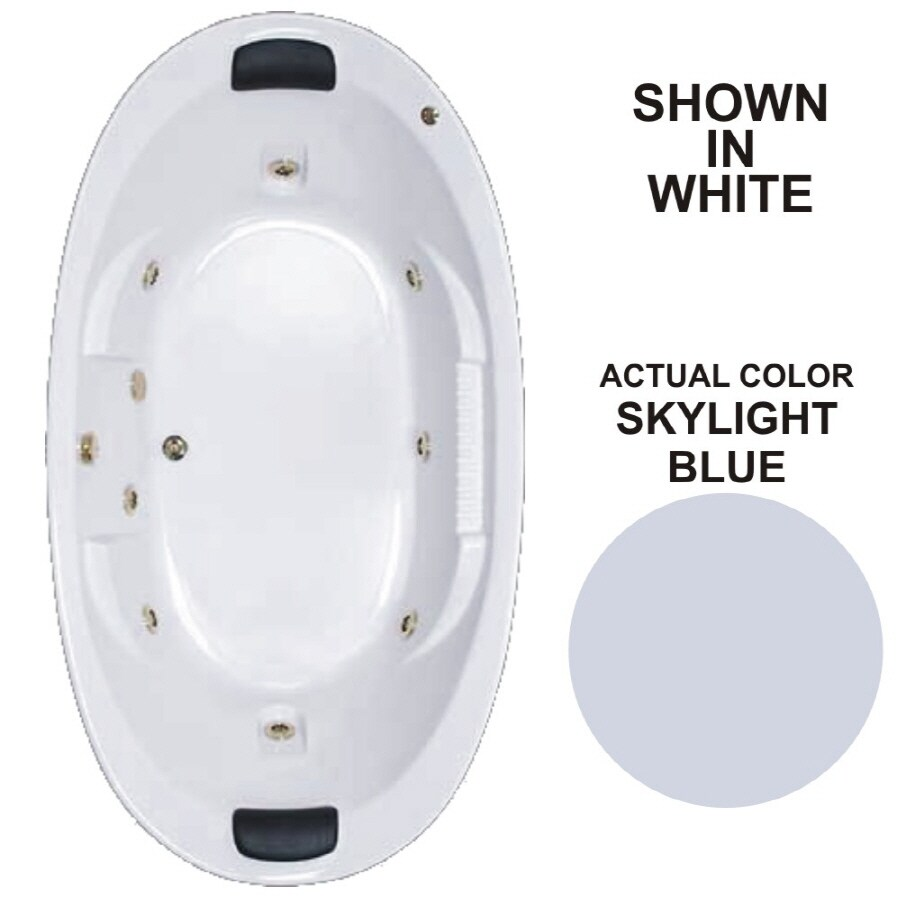 Watertech Whirlpool Baths Designer 2-Person Skylight Blue Acrylic Oval Whirlpool Tub (Common: 46-in x 84-in; Actual: 21.375-in x 45.75-in x 83.625-in)