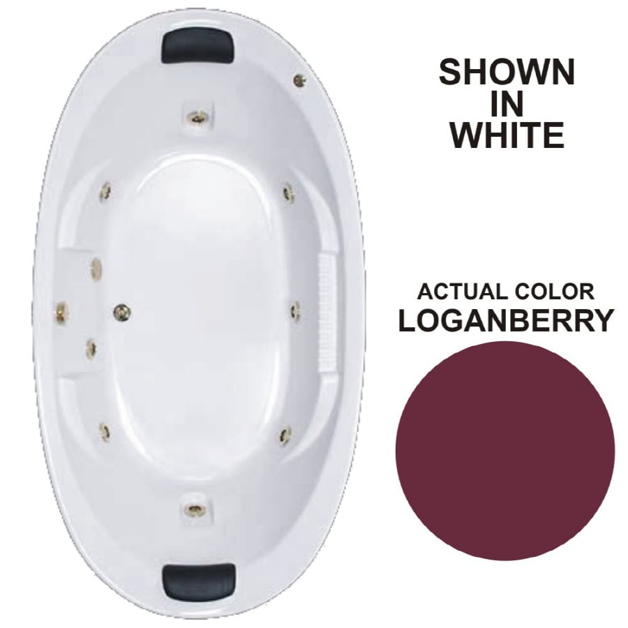Watertech Whirlpool Baths Designer 2-Person Loganberry Acrylic Oval Whirlpool Tub (Common: 46-in x 84-in; Actual: 21.375-in x 45.75-in x 83.625-in)