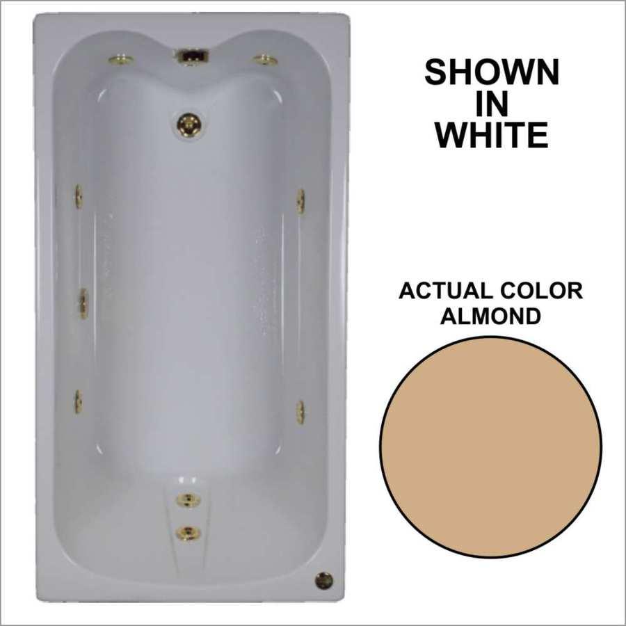 Watertech Whirlpool Baths Almond Acrylic Rectangular Whirlpool Tub (Common: 32-in x 60-in; Actual: 22.5-in x 31.75-in x 59.75-in)