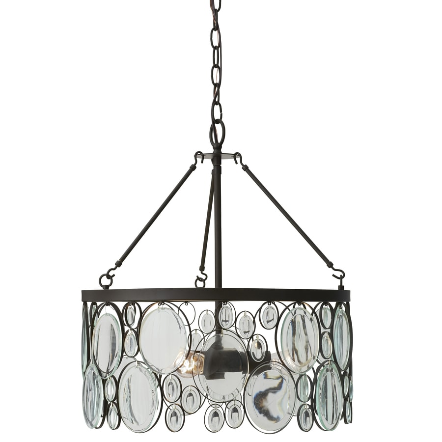 shop allen roth grelyn aged bronze single clear glass drum pendant. Black Bedroom Furniture Sets. Home Design Ideas