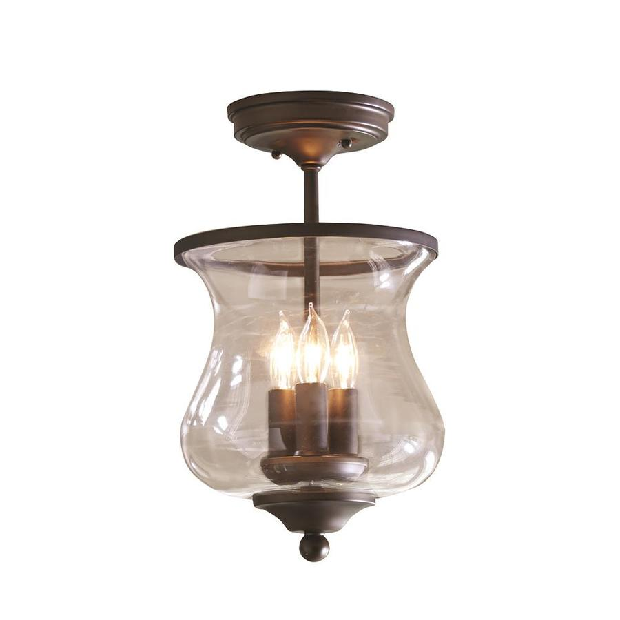 68 in w aged bronze clear glass semi flush mount light at