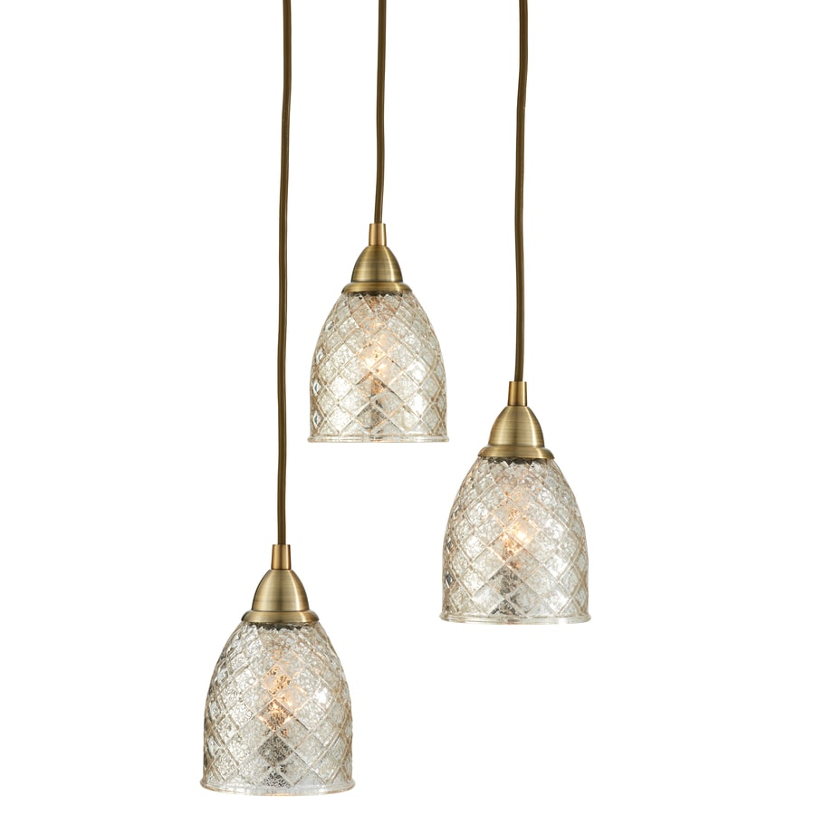 allen + roth Lynlore 12.52-in Old Brass Country Cottage Multi-Light Tinted Glass Dome Pendant