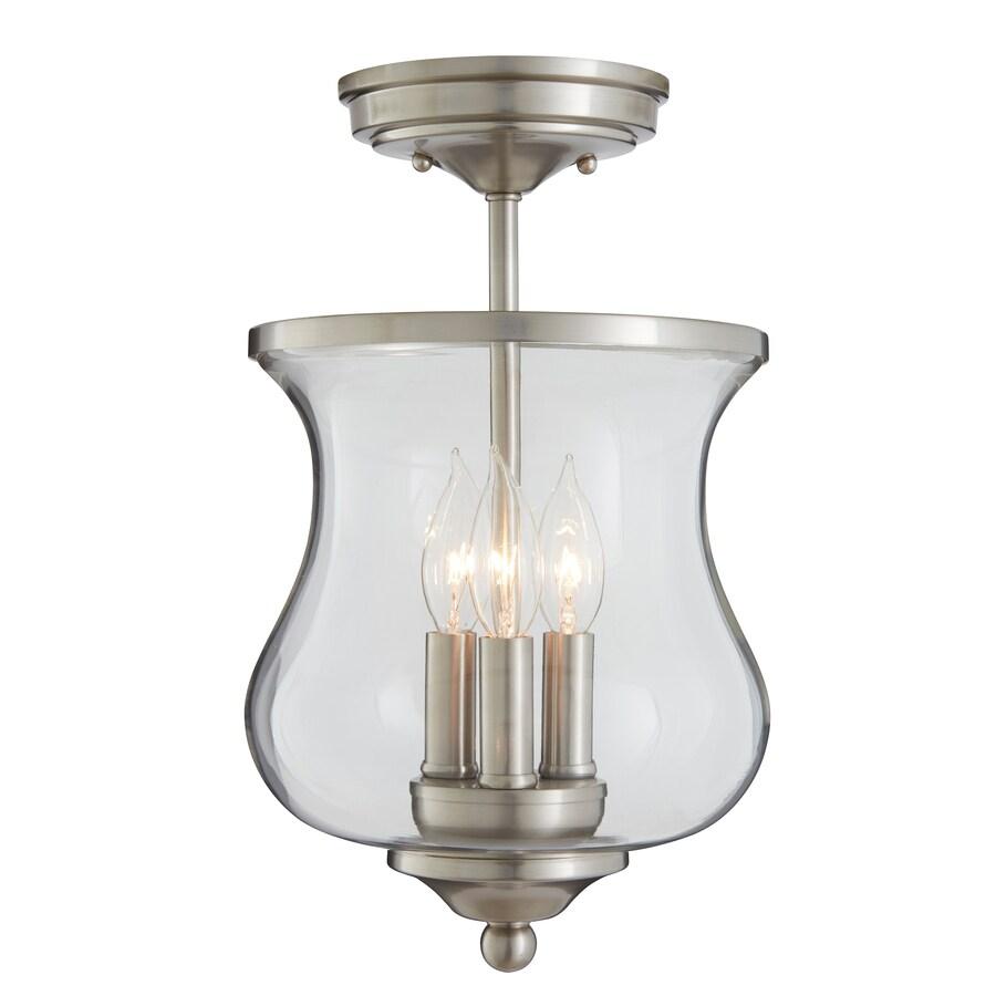 allen + roth Yately 8.66-in W Brushed Nickel Clear Glass Semi-Flush Mount Light