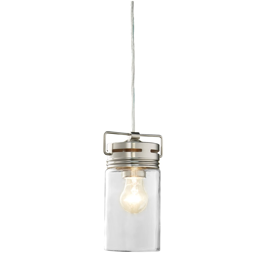 allen + roth Vallymede 4.41-in Brushed Nickel Country Cottage Mini Clear Glass Jar Pendant