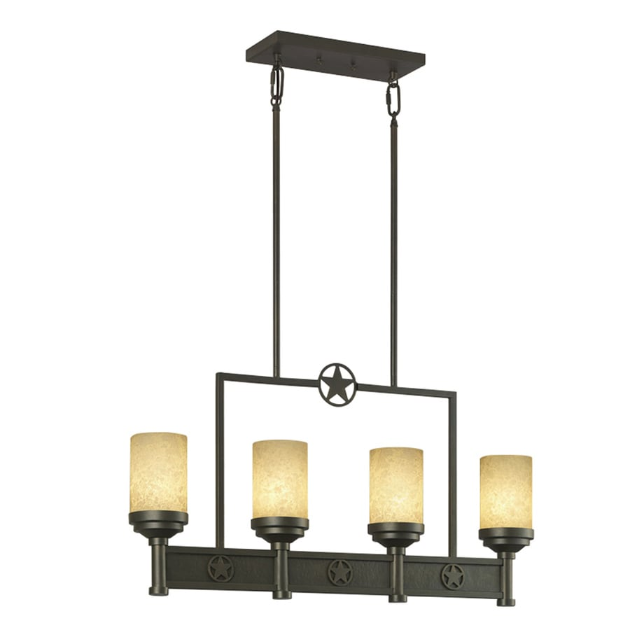 Portfolio Thoroughbred 32.54-in W 4-Light Aged Bronze Kitchen Island Light with Frosted Shade