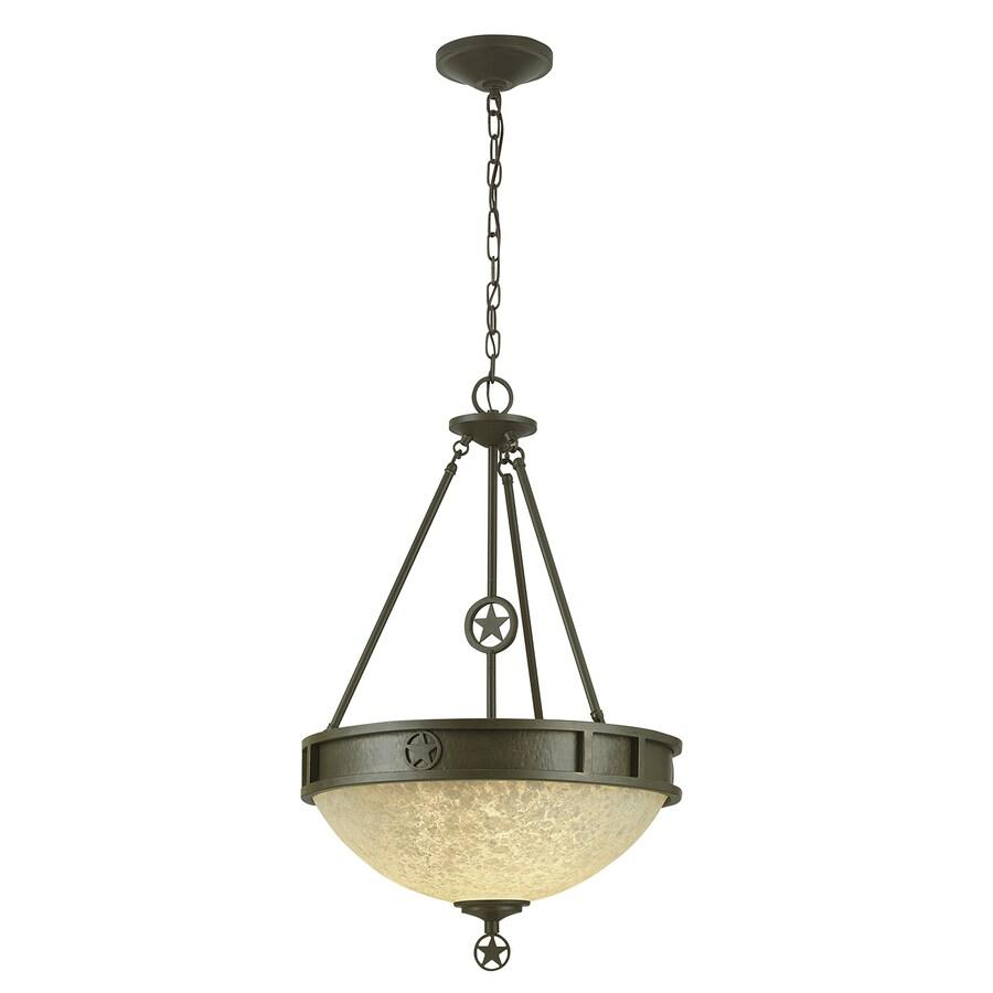Portfolio Thoroughbred 19.5-in Aged Bronze Barn Single Textured Glass Bowl Pendant