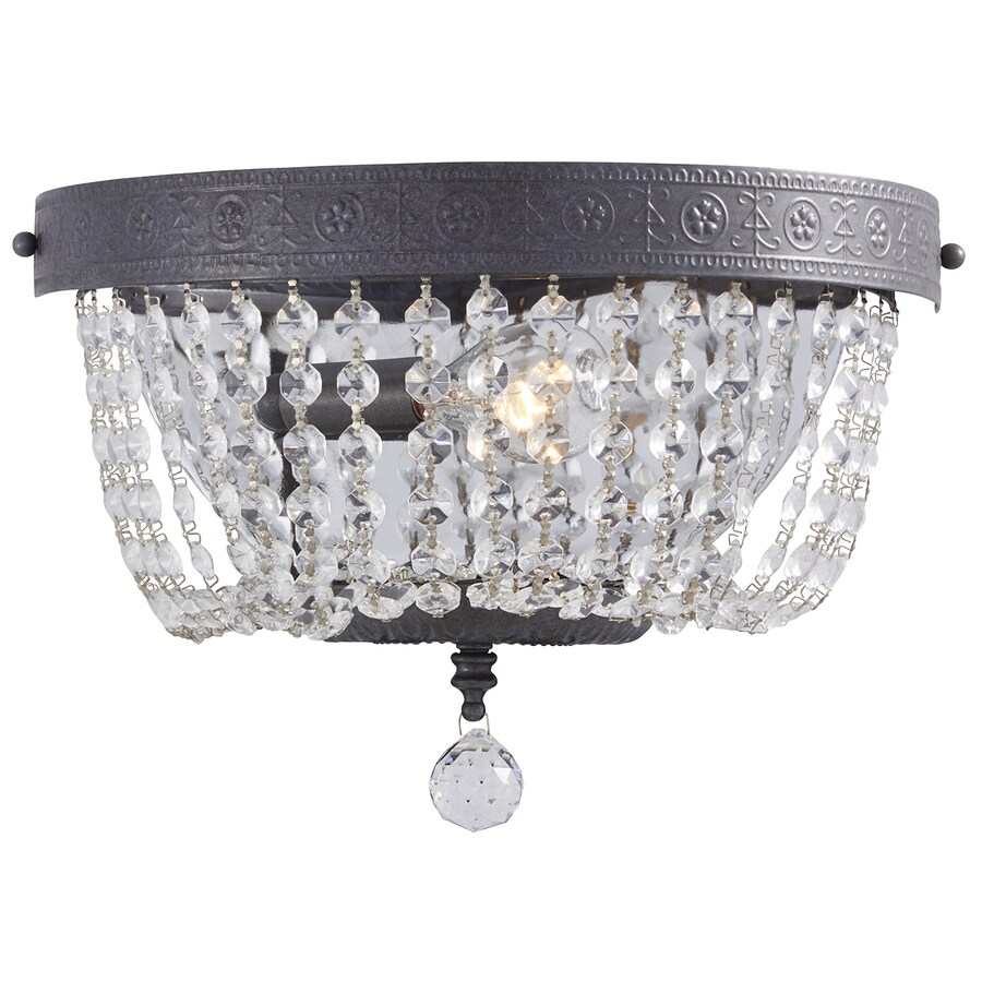 Portfolio Breely 12.01-in W 1-Light Antique Pewter Crystal Accent Pocket Hardwired Wall Sconce