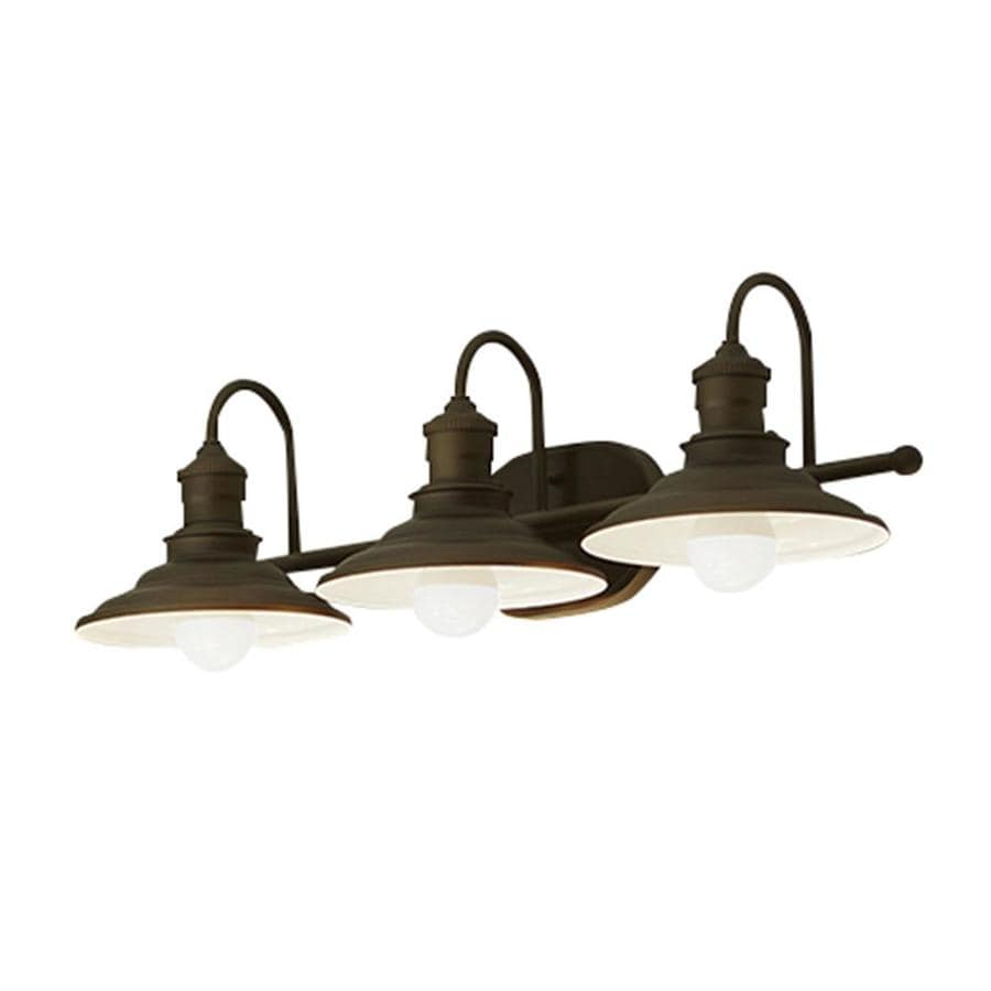 Shop allen roth 3 light hainsbrook aged bronze bathroom for Bathroom light fixtures lowes